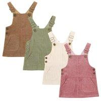 Девушка платья рожденные младенческие девочка сплошной вельверов подтяжки одеваются регулируемые ремни короткие с двумя карманами спереди 1-3 года