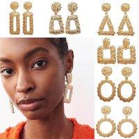 Bohemian Büyük Geometrik Bildirimi Dangle Küpe Kadınlar Için Altın Gül Altın Metal Asılı Damla Küpe Moda Takı Toplu 171 O2