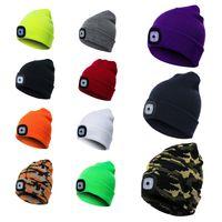 2021 New LED Lighting Knitted Hats Women Men Camping Cap Travel Hiking Climbing Night Hats Winter Beanie Light Up Caps