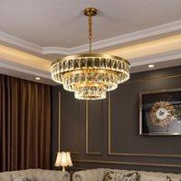 Modern kristal avize bakır lamba vücut altın ışık lüks oturma odası yemek odası yuvarlak yatak odası aydınlatma çok katmanlı yeni led lamba