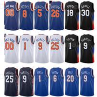 Şehir Kazanılan Baskı Baskılı Basketbol Austin Nehirleri Jersey 8 Obi Toppin 1 Reggie Bullock 25 Mitchell Robinson Kevin Knox Carmelo Anthony