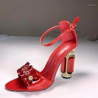 النساء الكريستال كعب مكتنز الصنادل بلينغ بلينغ الأحمر مطرز مجوهرات أحذية الزفاف الكاحل حزام براءات الاختراع السيدات السيدات هيلز 1