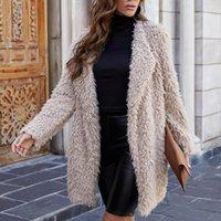 Wollmischungen der Frauen-Wollmischungen Trodam-Frauen-Kaschmir-dicke Mantel Herbst Winter beiläufige lose langarm offene vordere feste farbe cardigan für weiblich1