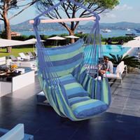 Opknoping touw Hangmat stoel Swing Seat Distinctive Cotton Canvas met 2 kussen voor Panch Patio en meer Indoor Outdoor Spaces Gratis verzending