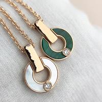 Coração clássico Diamante de aço inoxidável colar ouro colar moda natural malaquite letra pingente diamante senhoras jóias presentes para coupl