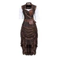 Frauen Steampunk Korsett Kleid Piratenhemd Gothic Korsett Dessous Top mit Burleske Unregelmäßigen Rock Set Halloween-Kostüm S-6XL x0123