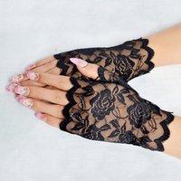 Cinco dedos luvas sexy verão dança mulheres feminino moda seda laço fina touch screen senhora noiva festa metade dedo fishnet luvas1