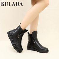 Çizmeler Kulada Sonbahar Moda Kadınlar PU Deri Su Geçirmez Platformu El Yapımı Vintage Düz Ayak Bileği Botines Ayakkabı Kadın Kış Botas1
