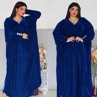 Abbigliamento etnico Velvet di lusso Abaya Kimono Dubai 2021 Donne Musulmani Kaftan Africano Plus Size Boubou Hijab Dress Elegante Lady Islam Abbigliamento1