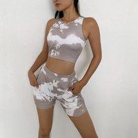 Yoga Kıyafetler Kravat Boyalı Spor Şort Koşu Seti Spor Kadın Gym Egzersiz Eğitim Push-Up Kırpma Üst İki Parçalı Suit