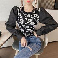 Suéter das mulheres Llzacoosh Primavera Outono O Pescoço Sprish Sleeve Patchwork Pullover Senhoras Impressão de Tricô Tee Bluses