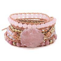 سوار الحجر الطبيعي الوردي الكوارتز الجلود التفاف أساور للنساء روز الأحجار الكريمة الخرز كريستال بوهيميا مجوهرات F1211
