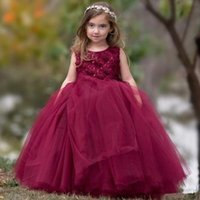 2021 New 2021 Hot sale Cheap Blush Pink Flower Girls Dresses Long Sleeves For Weddings Lace Appliques Ball Gown Birthday Girl Communion Page