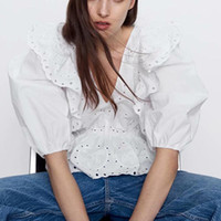 Hollow Out Ruffle Women Blouse Korea Fashion Embroidery Tops...
