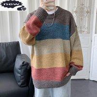 Suéteres de los hombres suéter de los hombres Streetwear Retro Colores de retro Hip Hop Hop Otoño sobre O-Cuello de gran tamaño Casual para hombre Tops de punto sueltos