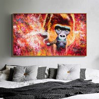 Funny Animal Poster and Prints Gorilla Smoking Cigar Canvas ...