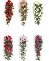 Fleur artificielle rotin faux fleur vigne décoration mur suspendu roses de décoration accueil accessoires de décoration de mariage fleurs décoratives guidon lls637