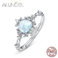 Anéis de cluster allnoel sólido 925 esterlina anel de noivado de prata para mulheres azul topázio pedra branca ouro ajustável 2021 retro presente