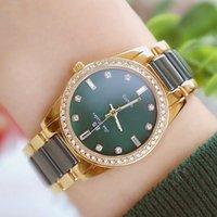 BS Bee Kardeş Kadın Saatler Ünlü Marka Seramik Kadın Saatı Yeşil Elmas Kadın Saatler Kuvars Bayanlar Saat 201211