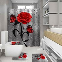 3D набор ванной комнаты водяной падение розовая бабочка напечатана для душа занавес не скольжения пьедестал ковра