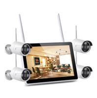 USVision Tuya 4ch Wireless WiFi كاميرا NVR كيت مع شاشة 12 بوصة في الهواء الطلق كاميرا للماء P2P نظام CCTV كيت مع كشف الإنسان