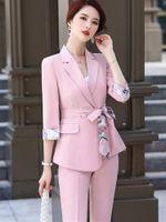 여성의 두 조각 바지 우아한 분홍색 불규칙한 디자인 블레이저 세트 사무실 숙녀 패션 바지 정장 여성 꽃 인쇄 자켓 바지 2021