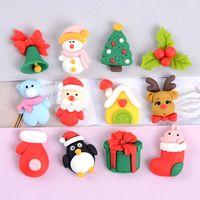 Christmas accessories Hair pin brooch necklace earrings resin Christmas accessories mobile phone case DIY cute cartoon pendant