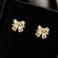 2021 Beliebte Frauen Ohrringe Brief Serie Bogen Pearl Ohrringe Designer Ohrringe mit Box Luxus Schmuck Großhandel L2-022