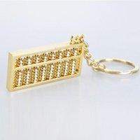 Anahtarlıklar benzersiz yenilik kolye altın abacus çinko alaşım hazırlanmış anahtarlık 9 satırlar çin tarzı anahtarlık