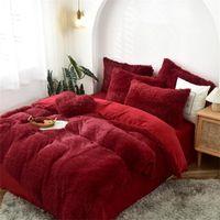 Tessuto in pile rosso scuro Inverno Inverno Spessore Biancheria da letto Solido Set di lettini di velluto Puntamento Cover Duvet Letto Lenzuola Letto Biancheria Leggeri 22 colori in magazzino