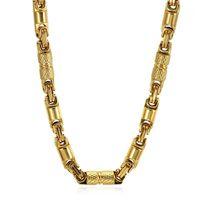 Золотой цвет Титана из нержавеющей стали Византийца 55см 6 мм тяжелые ссылки цепи ожерелья для мужчин хип-хоп ювелирные изделия Dropshipping1