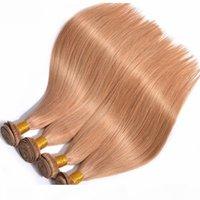 لون عذراء البرازيلي الشعر البشري 3 حزم اللون # 27 الحرير مستقيم ريمي الشعر التمديد للمرأة