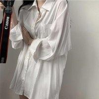 E Baihui Chic сплошные рубашки с длинным рукавом блузка плюс рубашки размера негабаритные белые блузки Maxi Boyries Chemisier