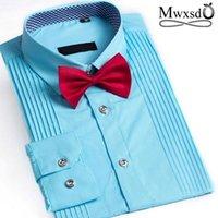 Men's Dress Camisas MWXSD Moda Moda Mens Francês Tuxedo Camisa Dos Homens Slim Fit Parte de Casamento com Cravat para Chemise de Algodão Masculino Homme1