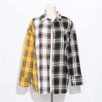 AllkpoPer Kpop Plaid Camicia Donne Bangtan Boys Suga Camicetta Corea Fashion Plus Size Casual Primavera Autunno Blection Shirts LJ200812