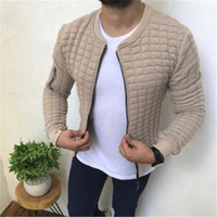 Mens Lattice Jackets Fashion Trend Long Sleeve Stand- up Coll...