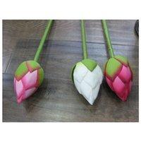 Flor artificial vívida 78cm Articail Silk Lotus Bud Hotel e Restaurante Flor Decorativa Flor Artificial Pond Simulação Planta 191 G2