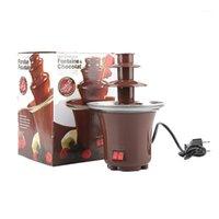 Haushalt dreischichtige Schokoladenbrunnenmaschine DIY Wasserfall Hot Pot Plasma Auftauen Maschine Parteiaktivität Automatische Schmelze # G301