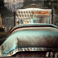 Vert satin Ensemble de literie king size queen 4 / 6pcs jacquard couette en coton literies de soie / Housse de couette textile maison de coton drap de lit