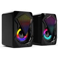 مكبرات الصوت الكمبيوتر للكمبيوتر اللوحي الكمبيوتر المكتبي RGB 3d ستيريو المتكلم 3.5 ملليمتر الصوت جاك باس الموسيقى لاعب ملون أضواء المتكلمين USB