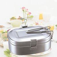 Caixa de almoço de aço inoxidável Aluno Lancheira Dupla camada de grande capacidade almoço caixas de armazenamento de alimentos
