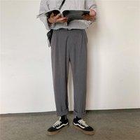 Polos de los hombres otoño delgado estilo de hong kong bf cayendo sentirse ancho pantalones de pierna suelta recta casual tendencia coreano todo-partido traje hombres1