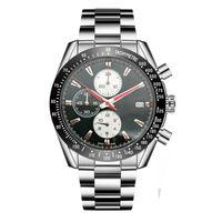Новый роскошный мужские часы Siliver и черный стальной браслет ремешок F1 часы спорта Многофункциональный календарь хронограф Наручные часы Montre
