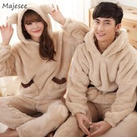 Men Pajama Sets Couple Coral Fleece Winter Warm Flannel Hooded Patchwork Pockets Home Clothes Soft Comfortable Casual Loungewear