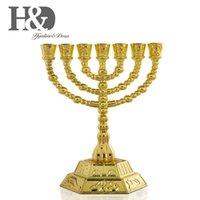 HD 12 부족의 이스라엘 메 노라 예루살렘 사원 7 지점 Je Hanukkah 장식 캔들 스틱 홀더 골드 4.3inch T200703