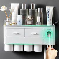 Conjunto de acessórios de banho Adsorção magnética Suporte de Toothbrush Titular Acessórios de Banheiro Acessórios Automático Dentífrico Dispensador de Espremer