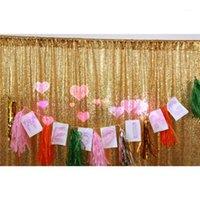 احباط الستار 2 متر 3 متر الذهب والفضة تينل هامش الستار حفلة عيد الديكور الزفاف التصوير خلفية صور الدعائم 1