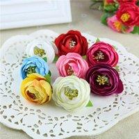 10pcs 3.5cm 인공 꽃 머리 모란 작은 장미 봉오리 웨딩 캔디 상자 액세서리 스크랩북 DIY Craft1