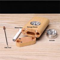 Natürliches Holz Dugout 3In1 Raucher Kit Mühle Pfeife Lagerung Raucher Prise Hitter Tragbare Kräuter Zigarette Tabak Aufbewahrungsbox Raucher Werkzeuge