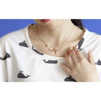 التيتانيوم ECG نبضات الصلب الحب شكل Lockbone سلسلة القلب قلادة الإناث الرجعية قلادة مجوهرات الملحقات